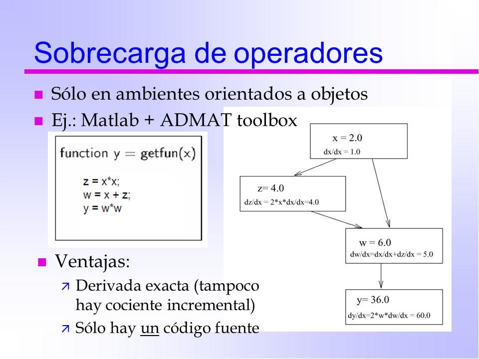 Sobrecarga de operadores n Sólo en ambientes orientados a objetos n Ej.: Matlab + ADMAT toolbox n Ventajas: ä Derivada exacta (tampoco hay cociente in