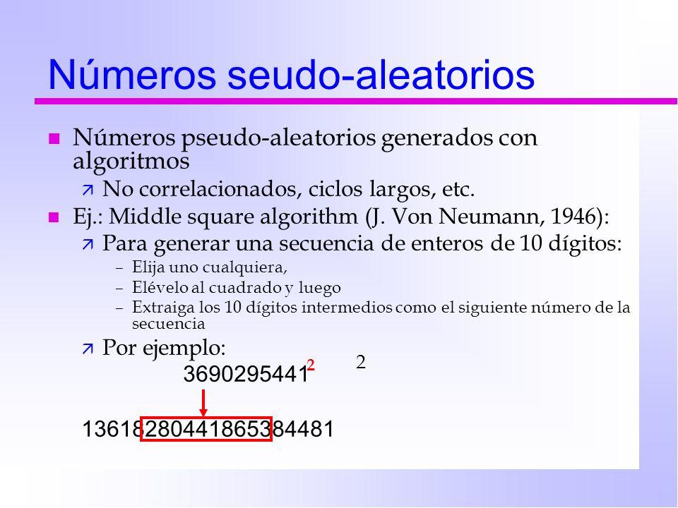 Números seudo-aleatorios n Números pseudo-aleatorios generados con algoritmos ä No correlacionados, ciclos largos, etc. n Ej.: Middle square algorithm