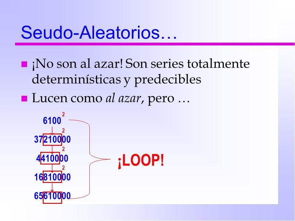 Seudo-Aleatorios… n ¡No son al azar! Son series totalmente determinísticas y predecibles n Lucen como al azar, pero … 6100 37210000 4410000 16810000 6