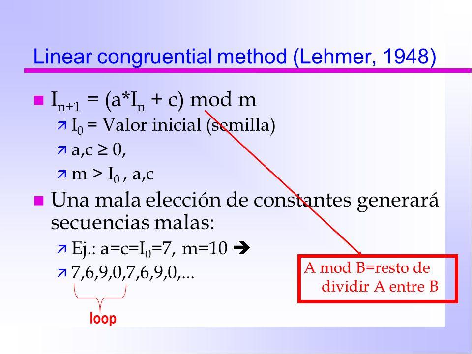 Linear congruential method (Lehmer, 1948) n I n+1 = (a*I n + c) mod m ä I 0 = Valor inicial (semilla) ä a,c 0, ä m > I 0, a,c n Una mala elección de c