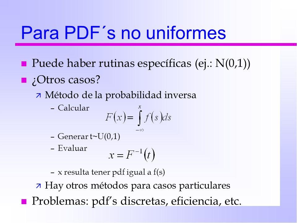 Para PDF´s no uniformes n Puede haber rutinas específicas (ej.: N(0,1)) n ¿Otros casos? ä Método de la probabilidad inversa –Calcular –Generar t~U(0,1