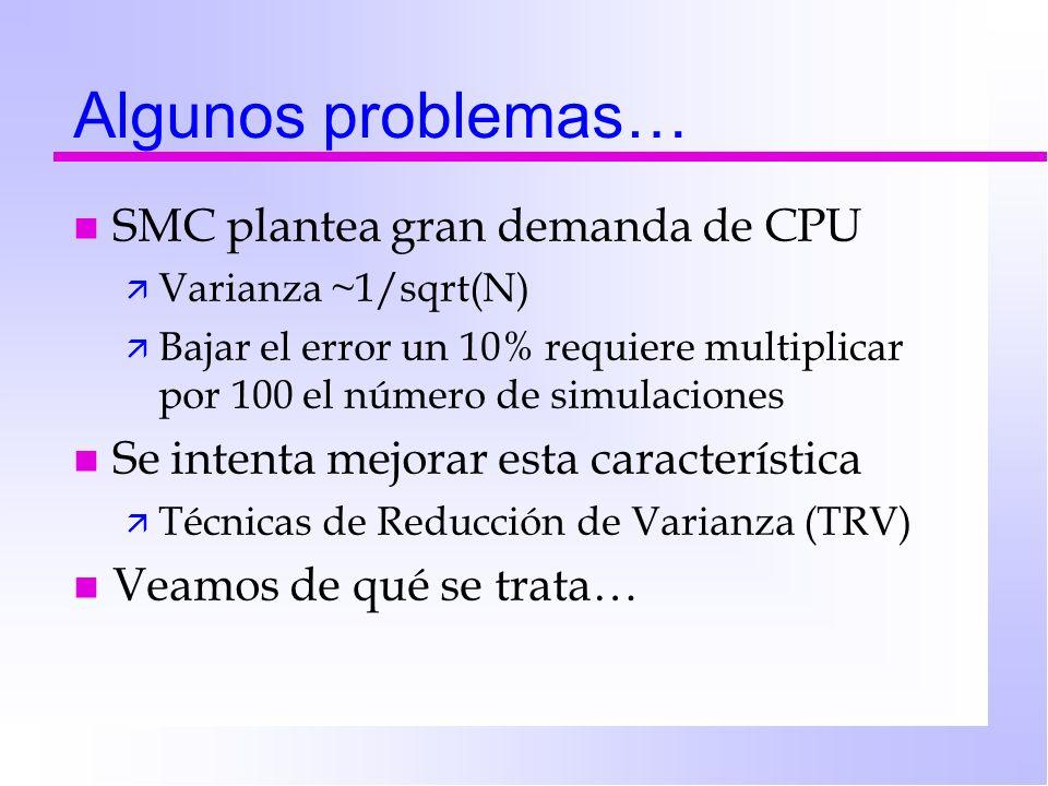 Algunos problemas… n SMC plantea gran demanda de CPU ä Varianza ~1/sqrt(N) ä Bajar el error un 10% requiere multiplicar por 100 el número de simulacio