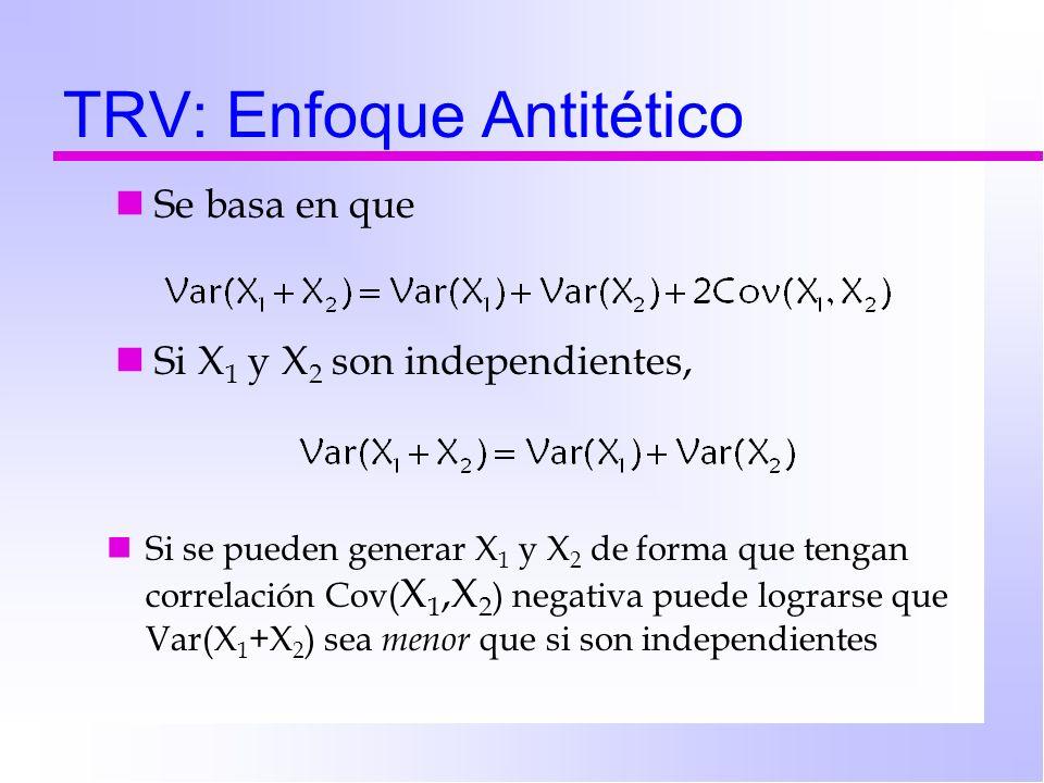 TRV: Enfoque Antitético Se basa en que Si X 1 y X 2 son independientes, Si se pueden generar X 1 y X 2 de forma que tengan correlación Cov( X 1,X 2 )