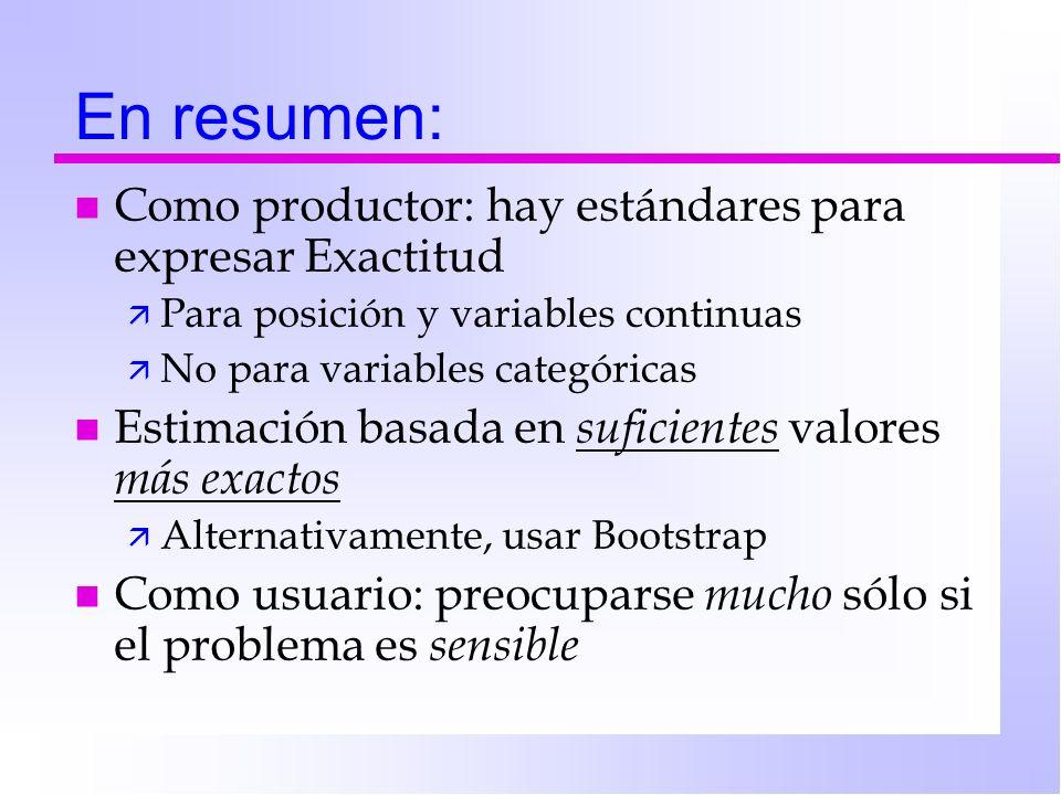 En resumen: n Como productor: hay estándares para expresar Exactitud ä Para posición y variables continuas ä No para variables categóricas n Estimació