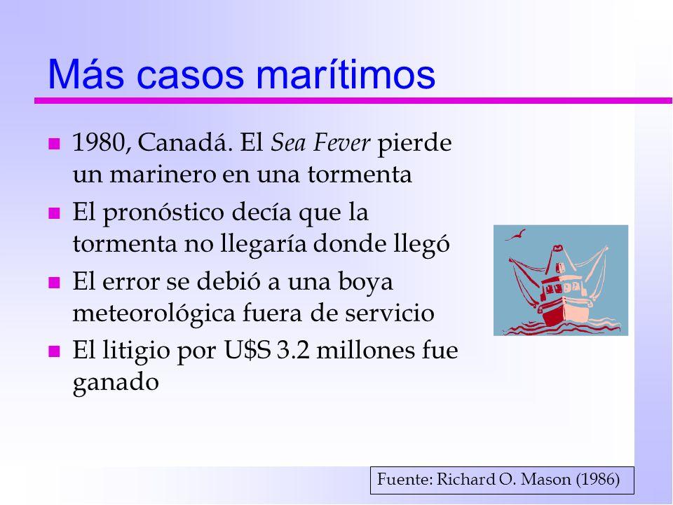 Más casos marítimos n 1980, Canadá. El Sea Fever pierde un marinero en una tormenta n El pronóstico decía que la tormenta no llegaría donde llegó n El