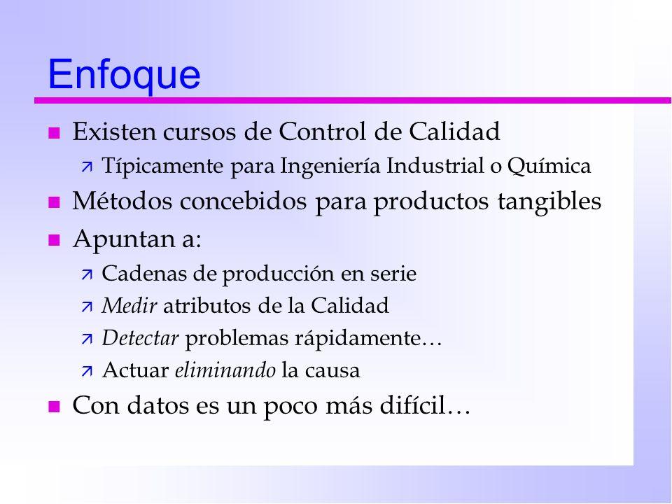 Enfoque n Existen cursos de Control de Calidad ä Típicamente para Ingeniería Industrial o Química n Métodos concebidos para productos tangibles n Apun