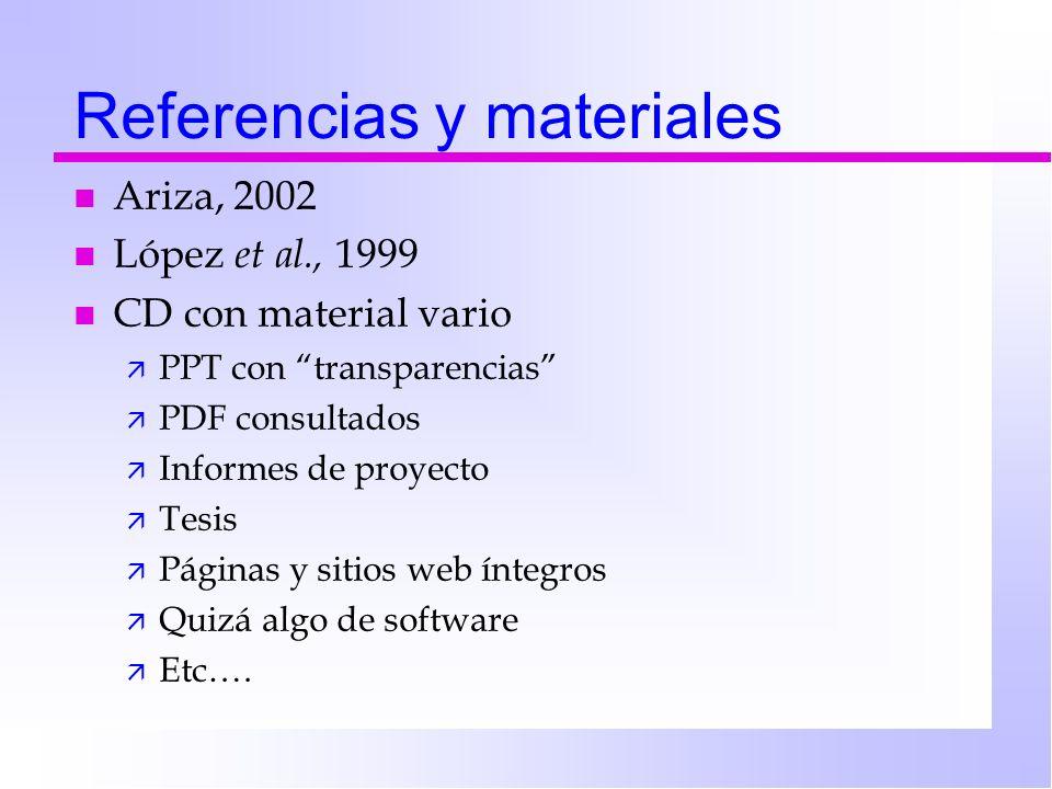 Referencias y materiales n Ariza, 2002 n López et al., 1999 n CD con material vario ä PPT con transparencias ä PDF consultados ä Informes de proyecto