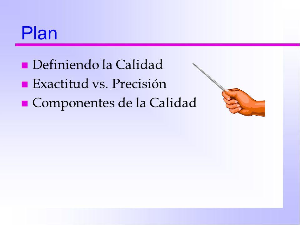 Plan n Definiendo la Calidad n Exactitud vs. Precisión n Componentes de la Calidad