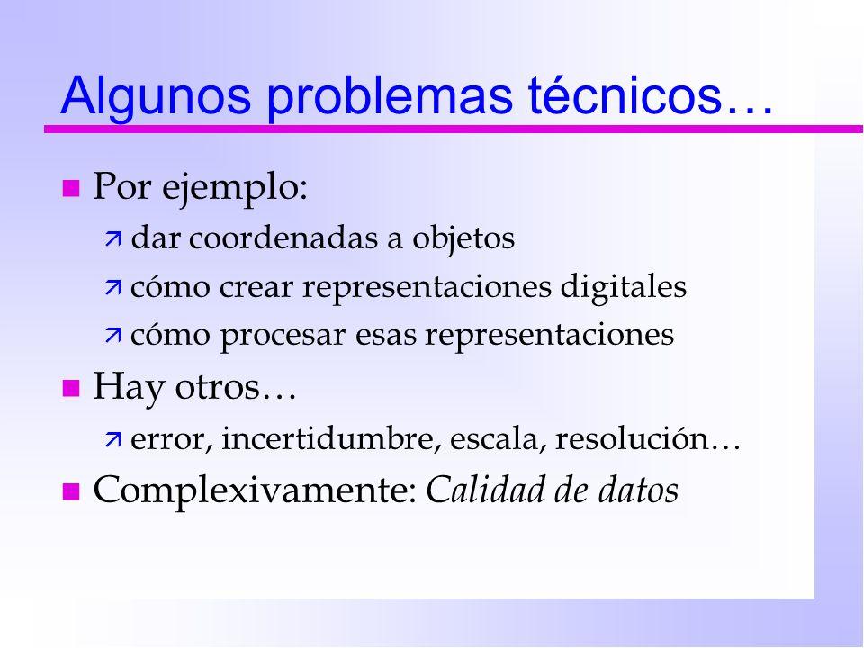Algunos problemas técnicos… n Por ejemplo: ä dar coordenadas a objetos ä cómo crear representaciones digitales ä cómo procesar esas representaciones n