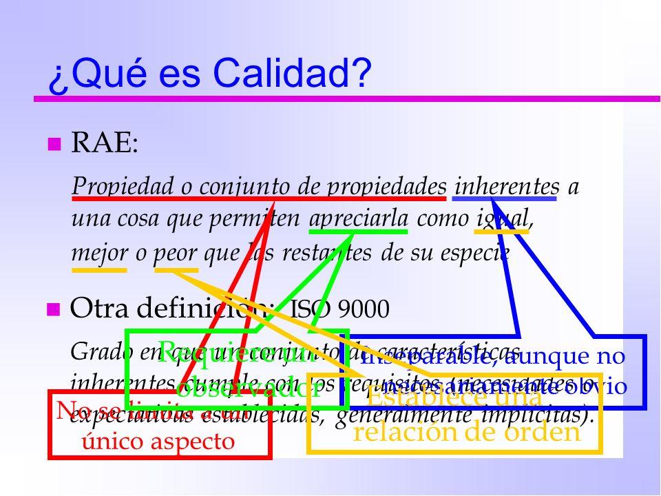 n Otra definición: ISO 9000 Grado en que un conjunto de características inherentes cumple con los requisitos (necesidades o expectativas establecidas,