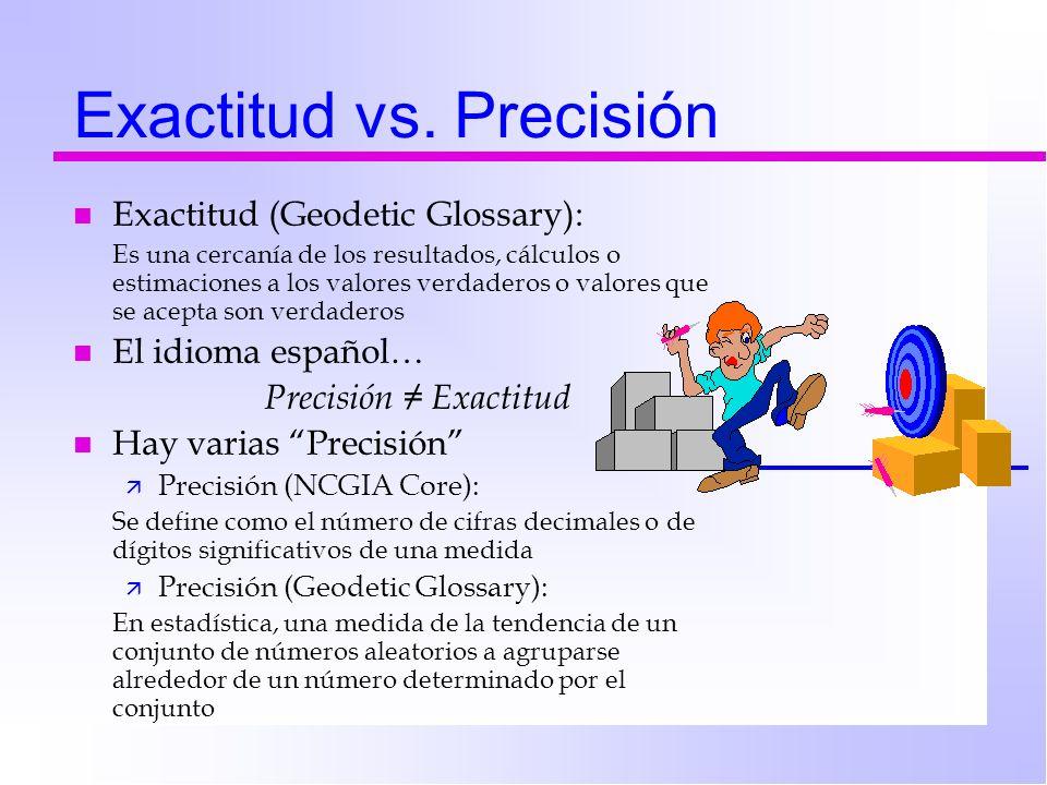 Exactitud vs. Precisión n Exactitud (Geodetic Glossary): Es una cercanía de los resultados, cálculos o estimaciones a los valores verdaderos o valores