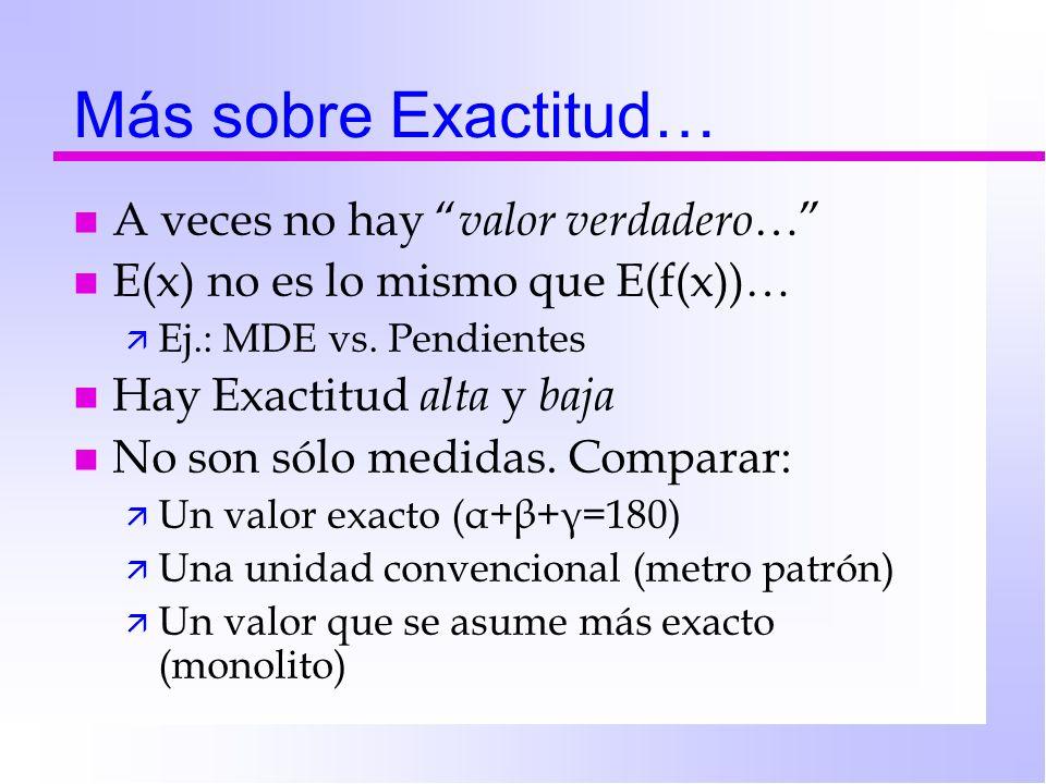 Más sobre Exactitud… n A veces no hay valor verdadero … n E(x) no es lo mismo que E(f(x))… ä Ej.: MDE vs. Pendientes n Hay Exactitud alta y baja n No