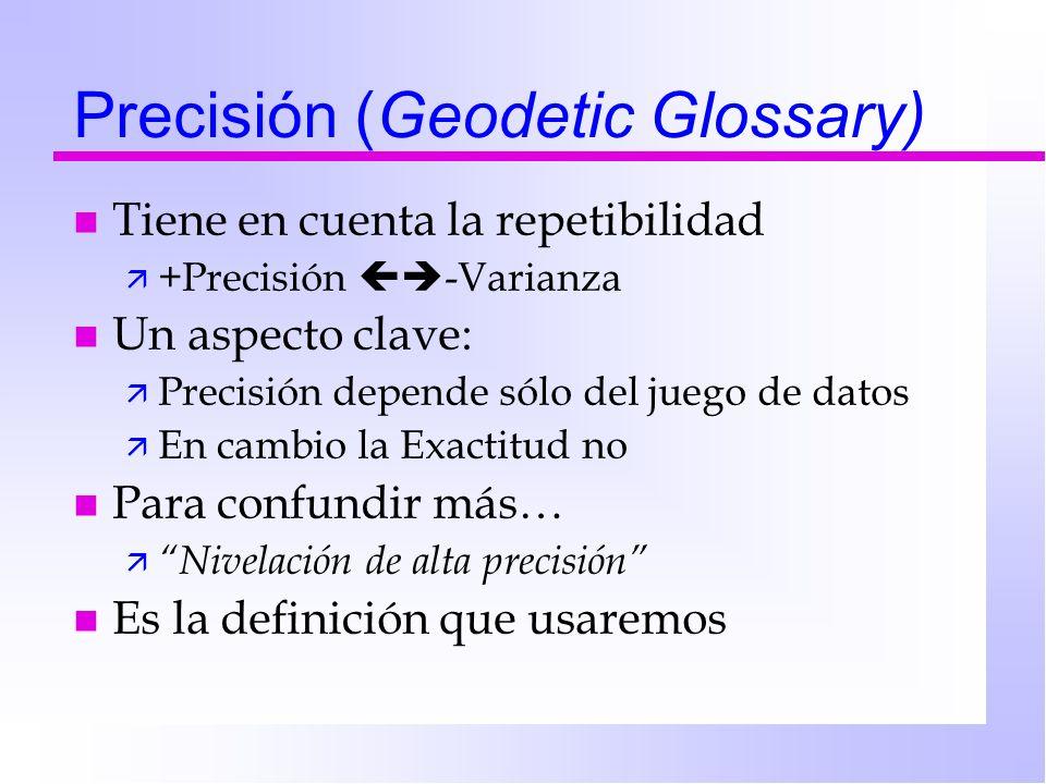 Precisión (Geodetic Glossary) n Tiene en cuenta la repetibilidad ä +Precisión -Varianza n Un aspecto clave: ä Precisión depende sólo del juego de dato