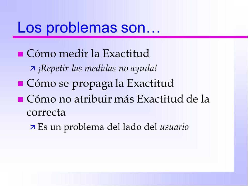 Los problemas son… n Cómo medir la Exactitud ä ¡Repetir las medidas no ayuda! n Cómo se propaga la Exactitud n Cómo no atribuir más Exactitud de la co