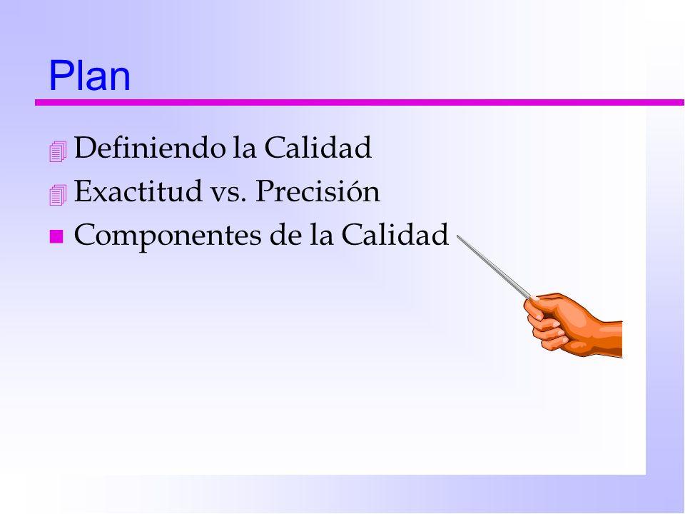 Plan 4 Definiendo la Calidad 4 Exactitud vs. Precisión n Componentes de la Calidad