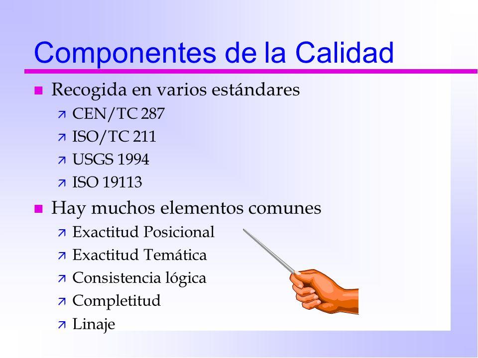 Componentes de la Calidad n Recogida en varios estándares ä CEN/TC 287 ä ISO/TC 211 ä USGS 1994 ä ISO 19113 n Hay muchos elementos comunes ä Exactitud