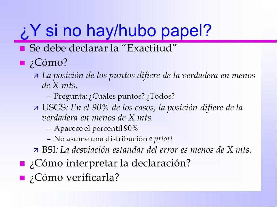 ¿Y si no hay/hubo papel? n Se debe declarar la Exactitud n ¿Cómo? ä La posición de los puntos difiere de la verdadera en menos de X mts. –Pregunta: ¿C