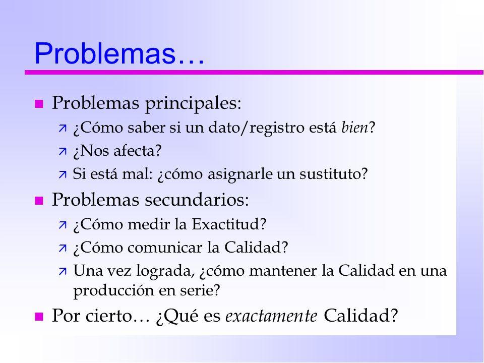 Problemas… n Problemas principales: ä ¿Cómo saber si un dato/registro está bien ? ä ¿Nos afecta? ä Si está mal: ¿cómo asignarle un sustituto? n Proble
