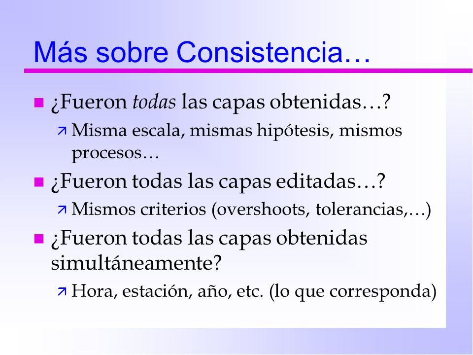 Más sobre Consistencia… n ¿Fueron todas las capas obtenidas…? ä Misma escala, mismas hipótesis, mismos procesos… n ¿Fueron todas las capas editadas…?