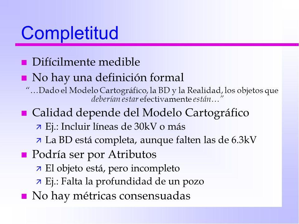Completitud n Difícilmente medible n No hay una definición formal …Dado el Modelo Cartográfico, la BD y la Realidad, los objetos que deberían estar ef
