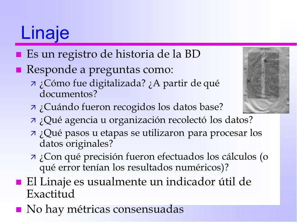 Linaje n Es un registro de historia de la BD n Responde a preguntas como: ä ¿Cómo fue digitalizada? ¿A partir de qué documentos? ä ¿Cuándo fueron reco
