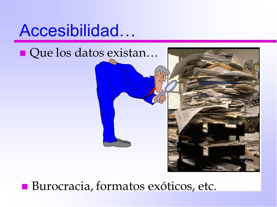 Accesibilidad… n Que los datos existan… n Burocracia, formatos exóticos, etc.