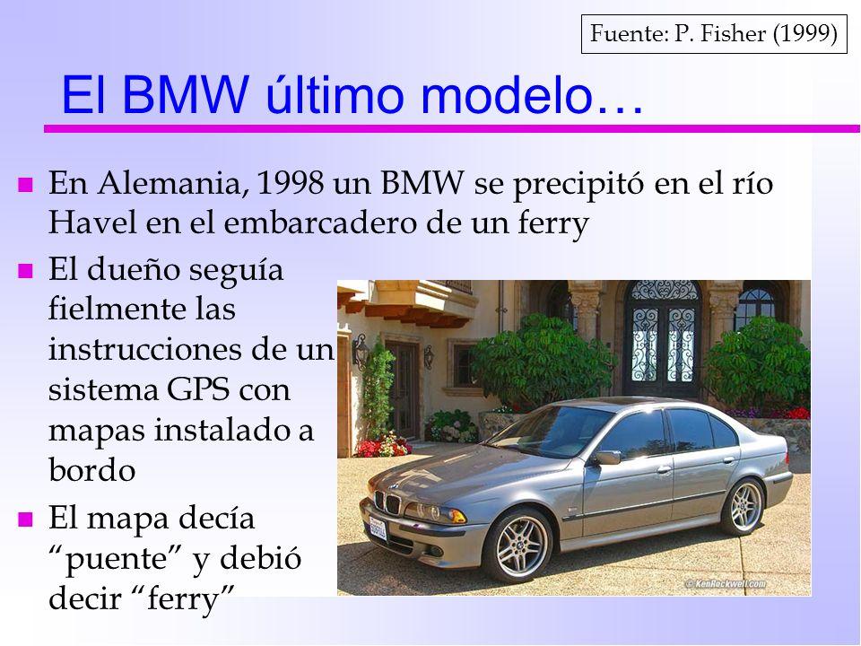 El BMW último modelo… n En Alemania, 1998 un BMW se precipitó en el río Havel en el embarcadero de un ferry n El dueño seguía fielmente las instruccio