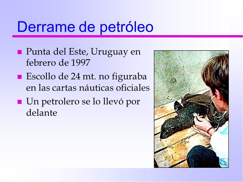 Derrame de petróleo n Punta del Este, Uruguay en febrero de 1997 n Escollo de 24 mt. no figuraba en las cartas náuticas oficiales n Un petrolero se lo