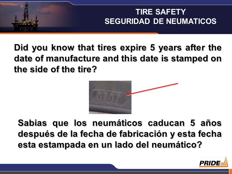 5 It is very easy to find out what the expiration date is on a tire, if you check on the side of it, you will have a 4 digit number stamped on it, this number indicates the week and the year it was manufactured, the expiration date will be 5 years later.