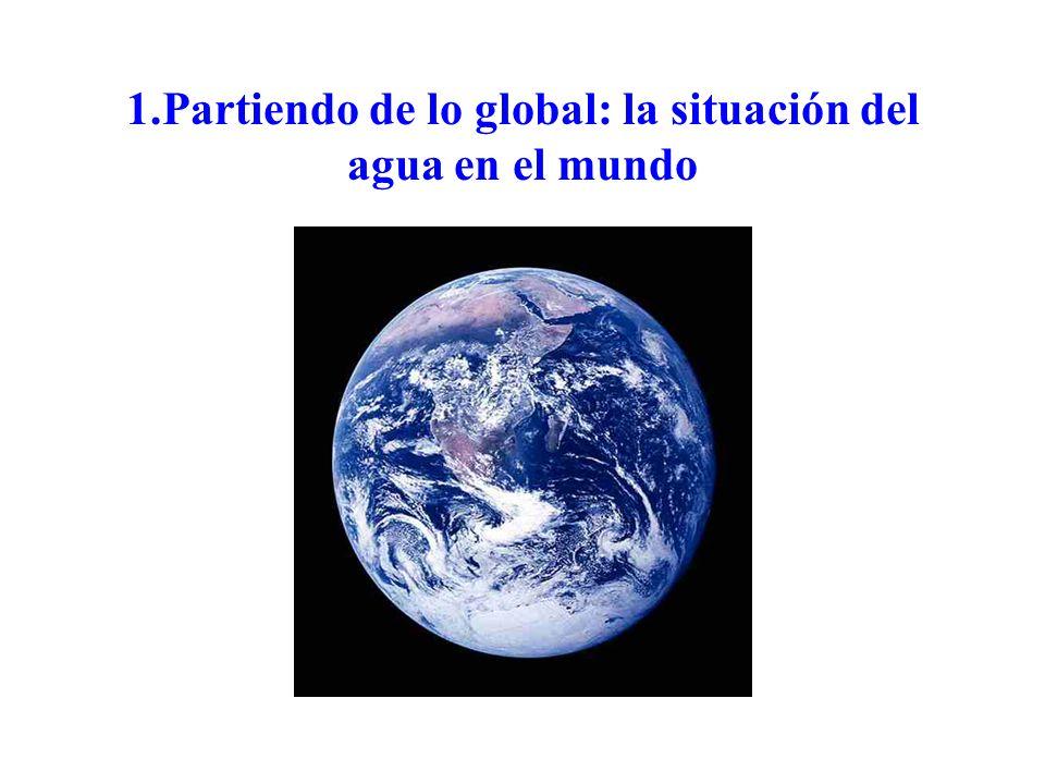 DISTRIBUCIÓN Agua salada (97%) DISTRIBUCIÓN 1.358 M km 3 Agua dulce (3%) 42 M km 3 Hielo: (2/3): 28 M km 3 Líquida: (1/3): 14 M km 3 99,7%: gran profundidad 0,3%: restante: 41.000 km 3 29.000 km 3 : torrencial 12.000 km 3 : disponible: 5.000 km 3 : utilizada 2.600 km 3 : contaminación, etc 4.400 km 3 : por utilizar (Fuentes: Shiklomanov, Naredo, Postel, Medows, Villiers)