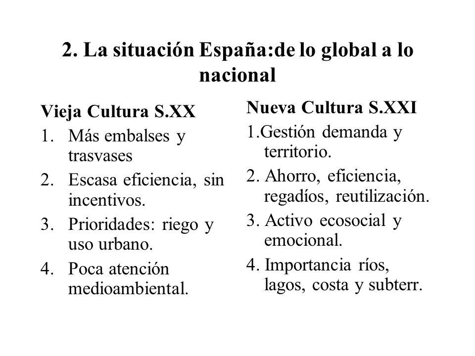 2. La situación España:de lo global a lo nacional Vieja Cultura S.XX 1.Más embalses y trasvases 2.Escasa eficiencia, sin incentivos. 3.Prioridades: ri
