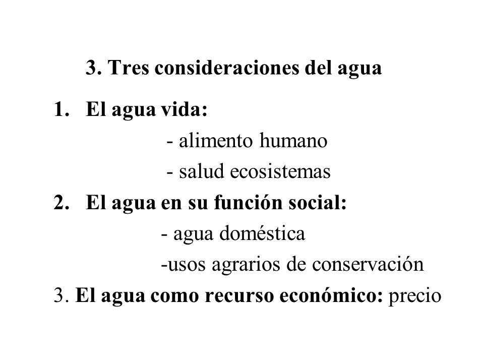 3. Tres consideraciones del agua 1.El agua vida: - alimento humano - salud ecosistemas 2.El agua en su función social: - agua doméstica -usos agrarios