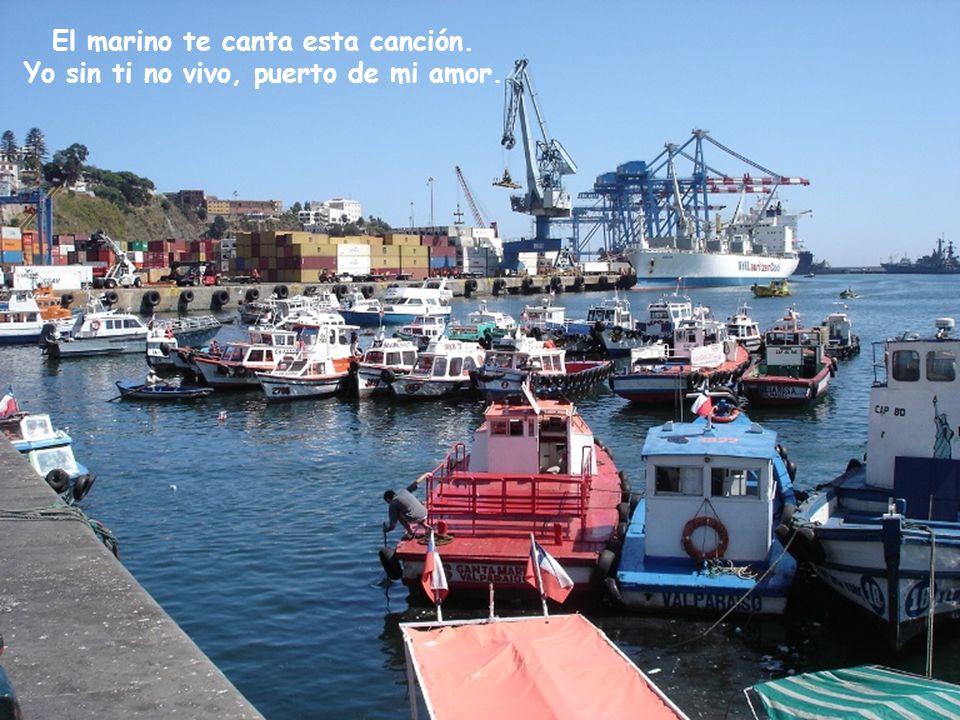 Al mirarte de Playa Ancha, lindo puerto, allí se ven las naves, al salir y al entrar.