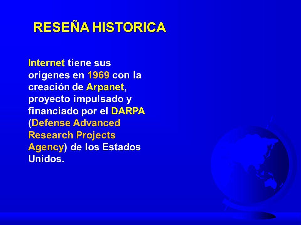 RESEÑA HISTORICA En 1983 ARPANET comienza a usar TCP/IP y acoge a la red MILNET.