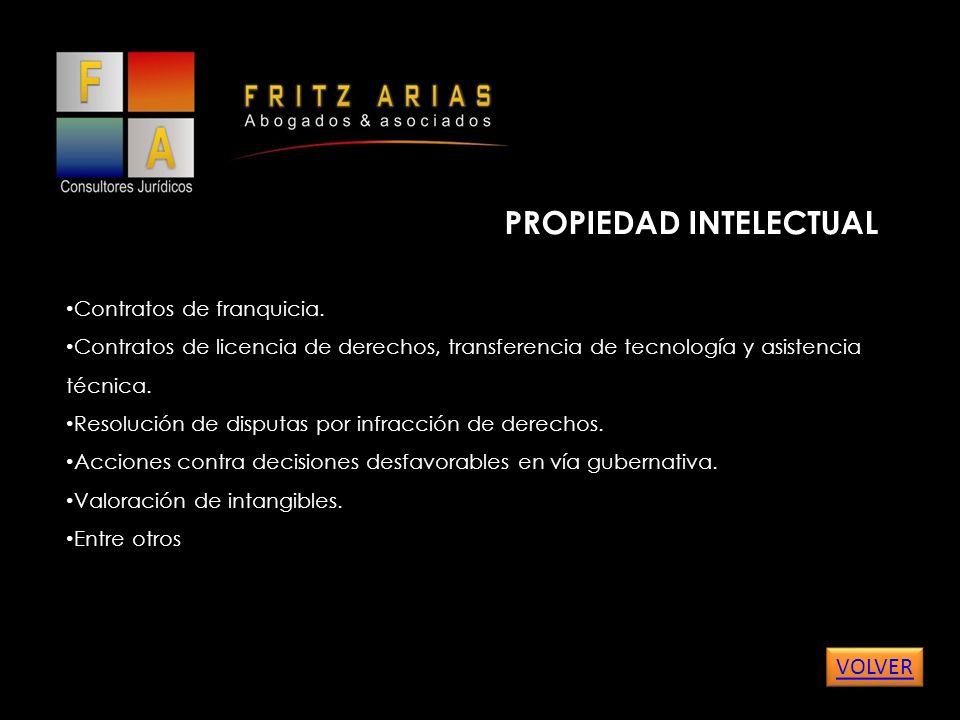 PROPIEDAD INTELECTUAL Contratos de franquicia.