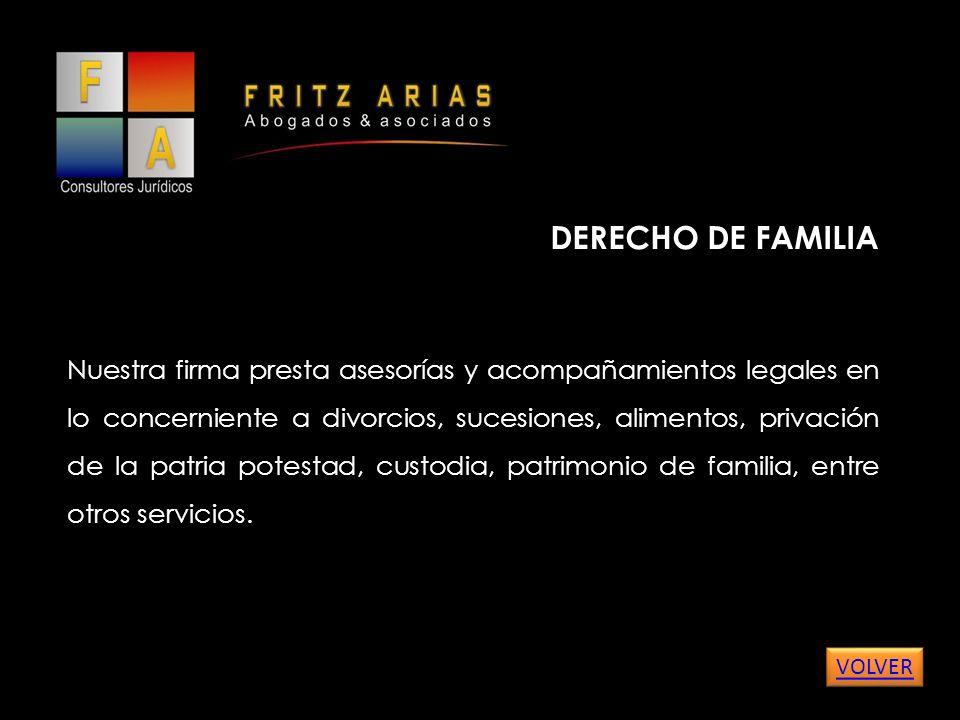 DERECHO DE FAMILIA Nuestra firma presta asesorías y acompañamientos legales en lo concerniente a divorcios, sucesiones, alimentos, privación de la patria potestad, custodia, patrimonio de familia, entre otros servicios.
