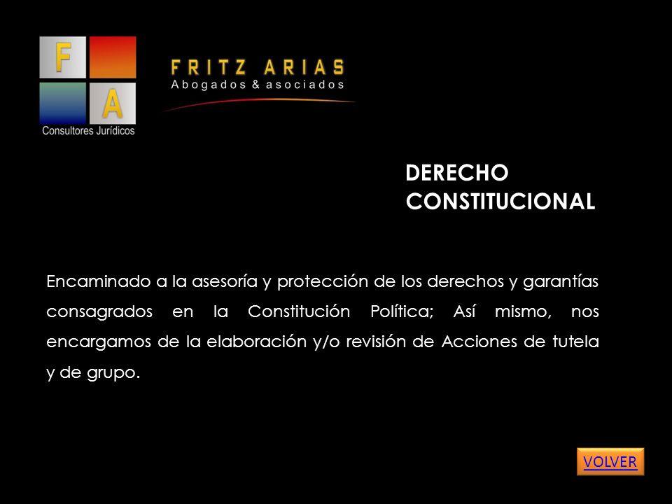 DERECHO CONSTITUCIONAL Encaminado a la asesoría y protección de los derechos y garantías consagrados en la Constitución Política; Así mismo, nos encargamos de la elaboración y/o revisión de Acciones de tutela y de grupo.