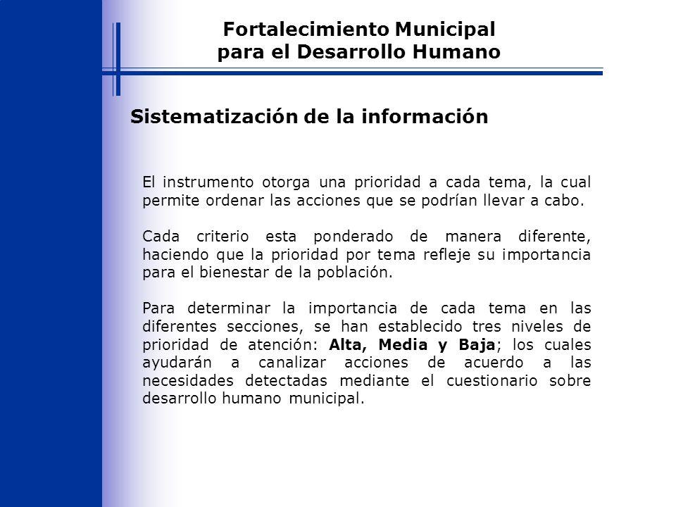 Sistematización de la información El instrumento otorga una prioridad a cada tema, la cual permite ordenar las acciones que se podrían llevar a cabo.