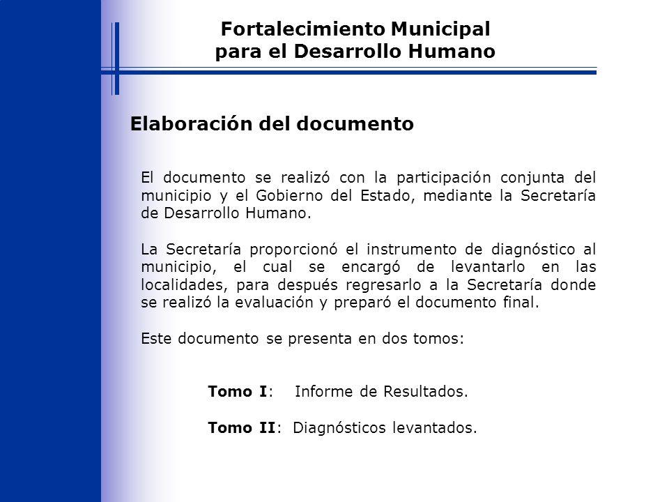 Propósito del documento Proponer un instrumento que permita tener una visión general de la situación del municipio a través de una aproximación a la situación en que se encuentran las localidades y así priorizar acciones en beneficio de la población.