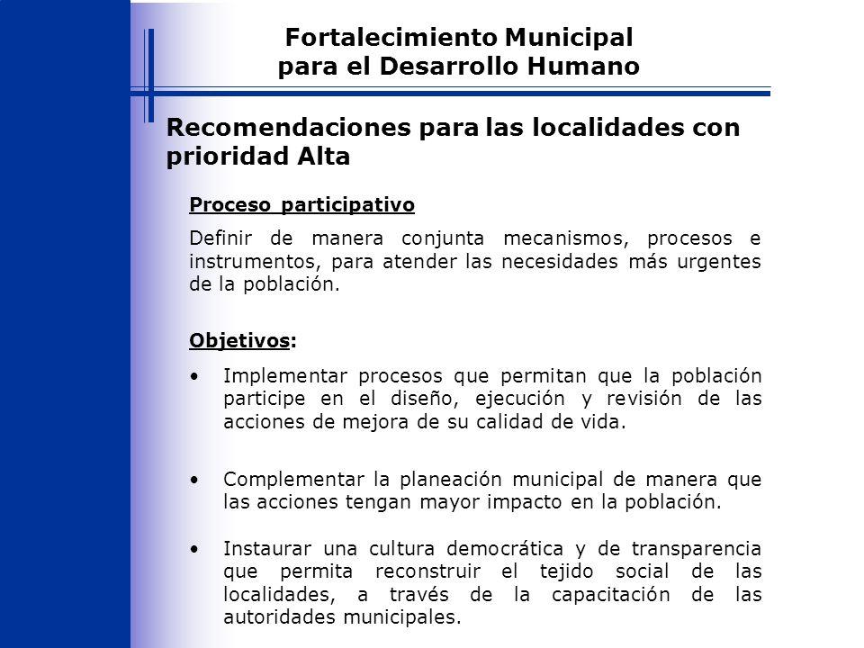 Recomendaciones para las localidades con prioridad Alta Definir de manera conjunta mecanismos, procesos e instrumentos, para atender las necesidades más urgentes de la población.