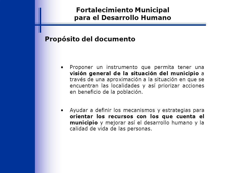 Resultados para las localidades que cumplen con los requisitos y tienen prioridad de atención Alta Fortalecimiento Municipal para el Desarrollo Humano