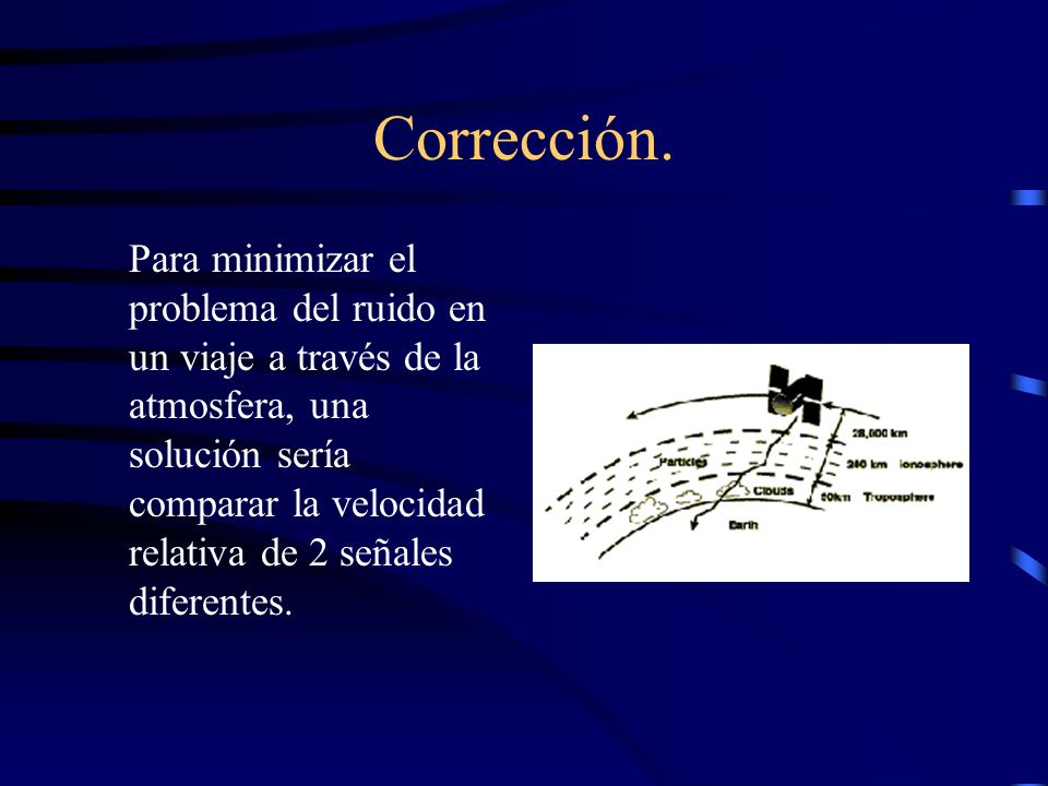 Corrección. Para minimizar el problema del ruido en un viaje a través de la atmosfera, una solución sería comparar la velocidad relativa de 2 señales