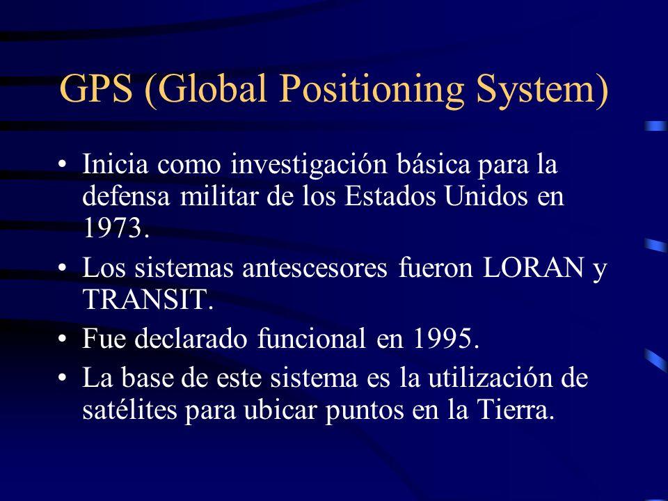 GPS (Global Positioning System) Inicia como investigación básica para la defensa militar de los Estados Unidos en 1973. Los sistemas antescesores fuer