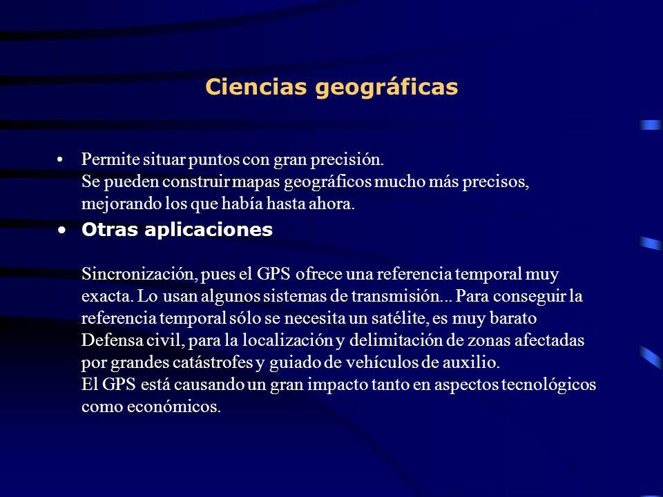 Ciencias geográficas Permite situar puntos con gran precisión. Se pueden construir mapas geográficos mucho más precisos, mejorando los que había hasta