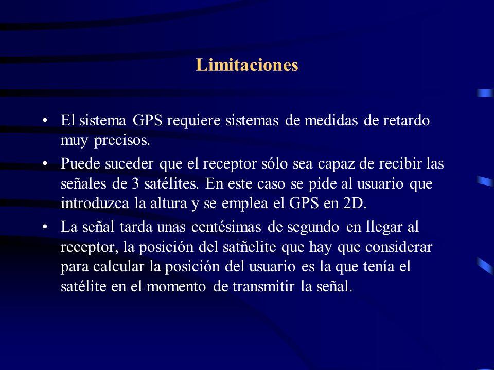 Limitaciones El sistema GPS requiere sistemas de medidas de retardo muy precisos. Puede suceder que el receptor sólo sea capaz de recibir las señales