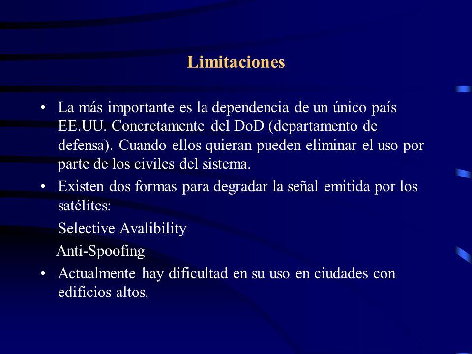 Limitaciones La más importante es la dependencia de un único país EE.UU. Concretamente del DoD (departamento de defensa). Cuando ellos quieran pueden