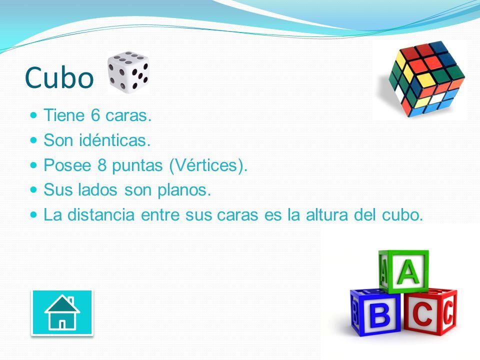 Cubo Tiene 6 caras. Son idénticas. Posee 8 puntas (Vértices). Sus lados son planos. La distancia entre sus caras es la altura del cubo.