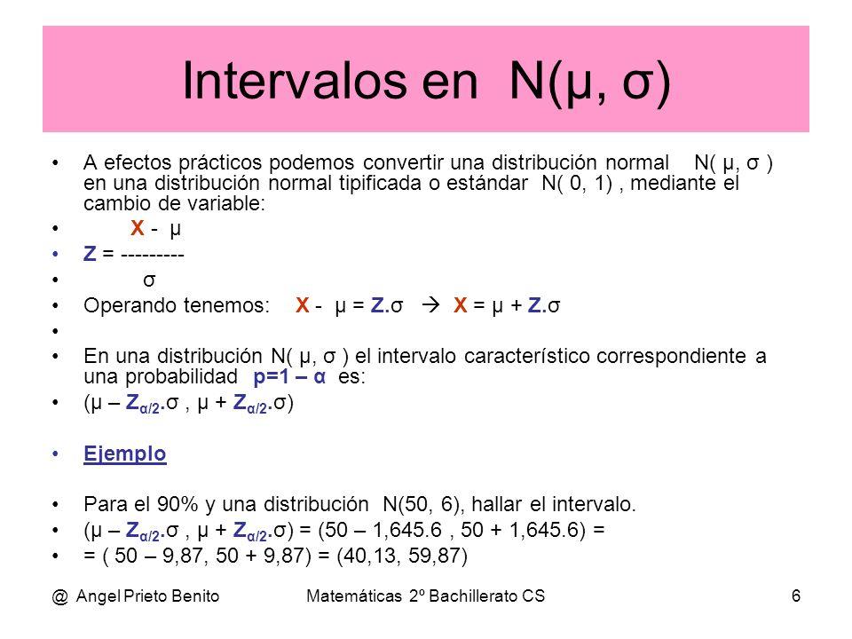 @ Angel Prieto BenitoMatemáticas 2º Bachillerato CS6 Intervalos en N(μ, σ) A efectos prácticos podemos convertir una distribución normal N( μ, σ ) en