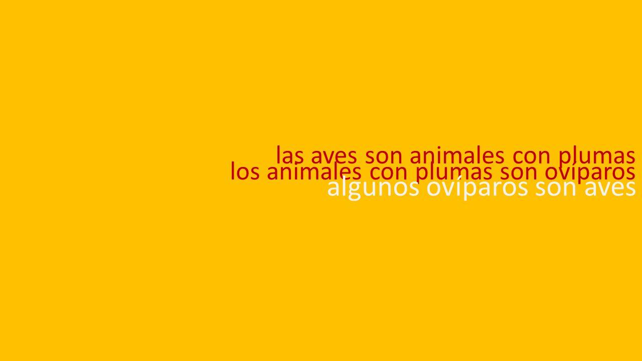 las aves son animales con plumas los animales con plumas son ovíparos algunos ovíparos son aves