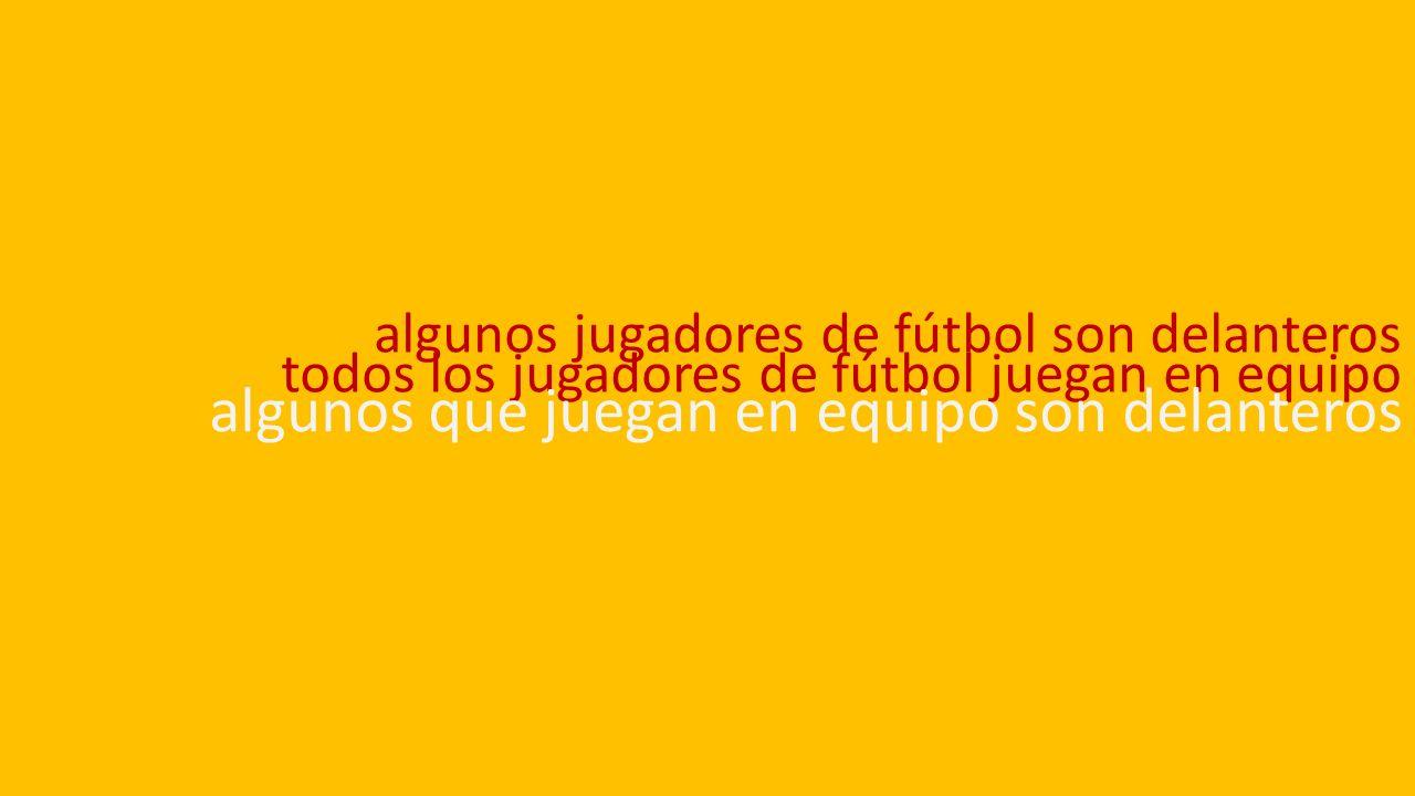 algunos jugadores de fútbol son delanteros todos los jugadores de fútbol juegan en equipo algunos que juegan en equipo son delanteros